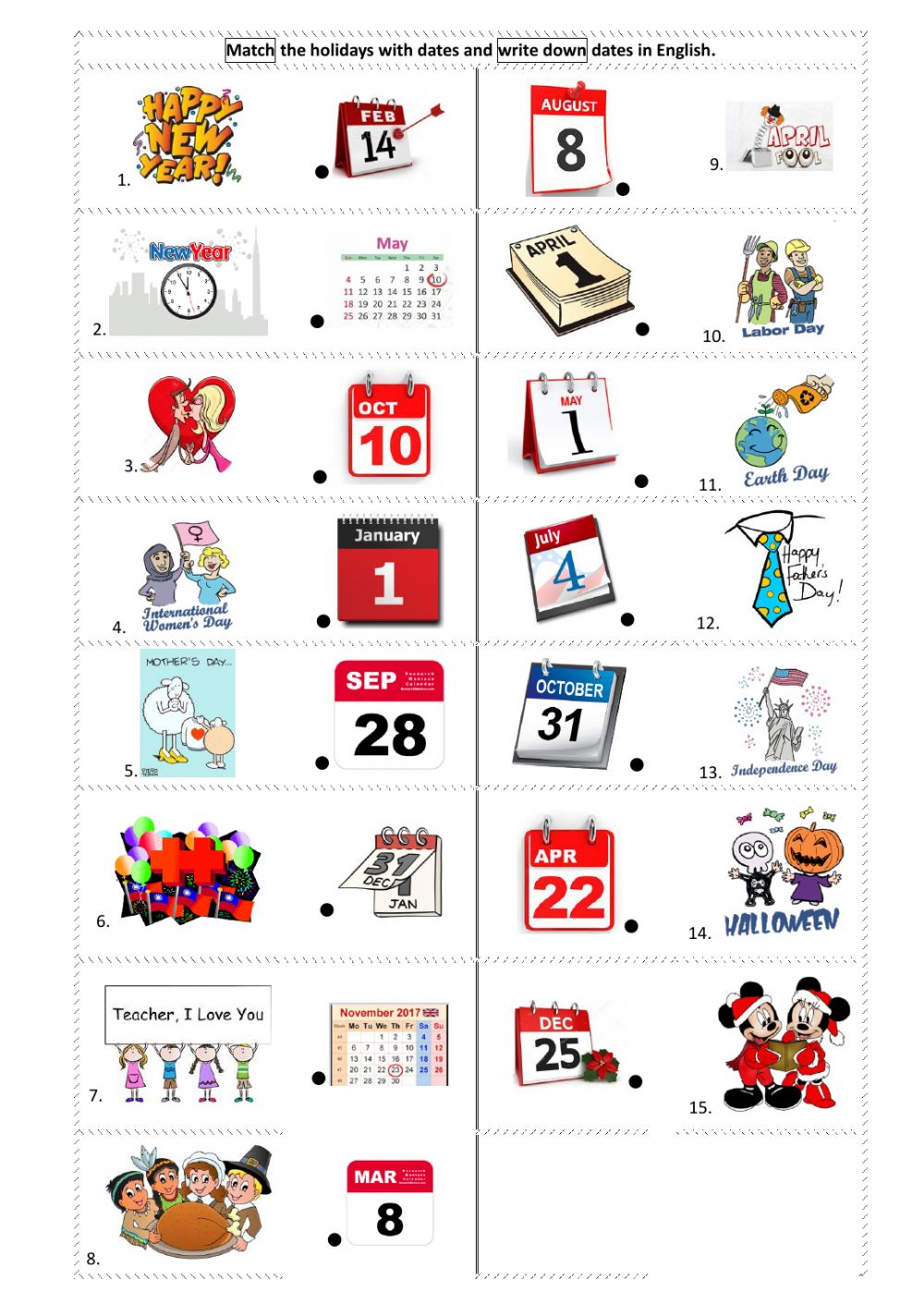 Holidays And Celebrations Interactive Worksheets