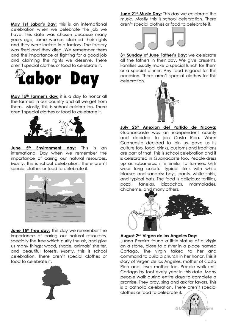 Holidays In Costa Rica Worksheet