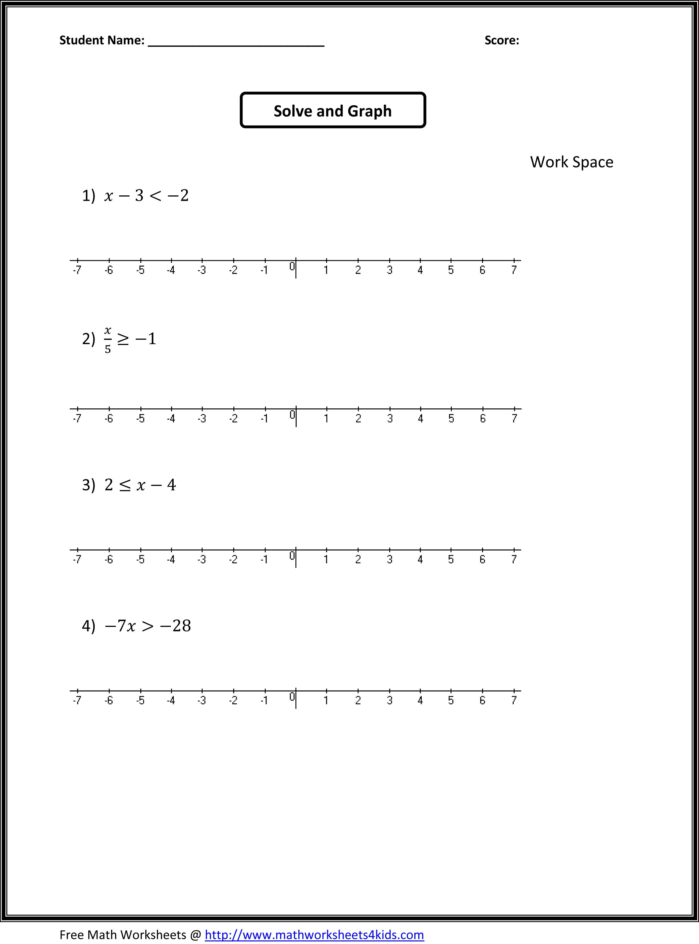 Inequality Worksheets For 7th Grade The Best Worksheets Image
