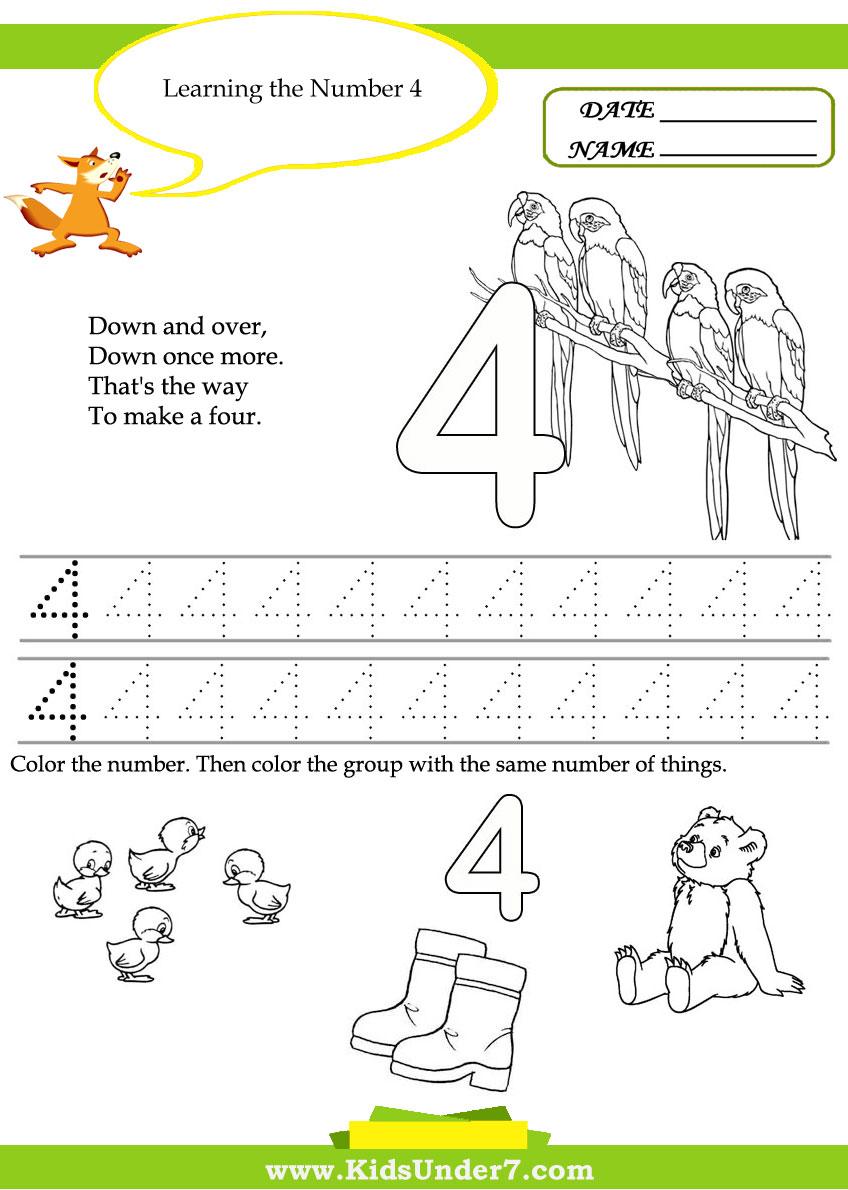 Kids Under 7  Free Printable Kindergarten Number Worksheets