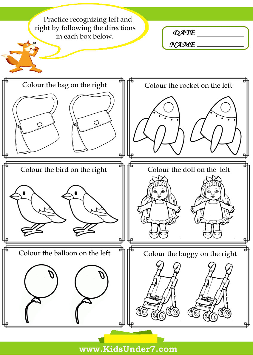 Kids Under 7  Left And Right Worksheets