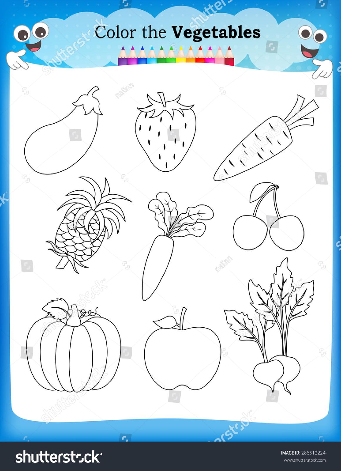 Kids Worksheet Fruits Vegetables Stock Photo (photo, Vector