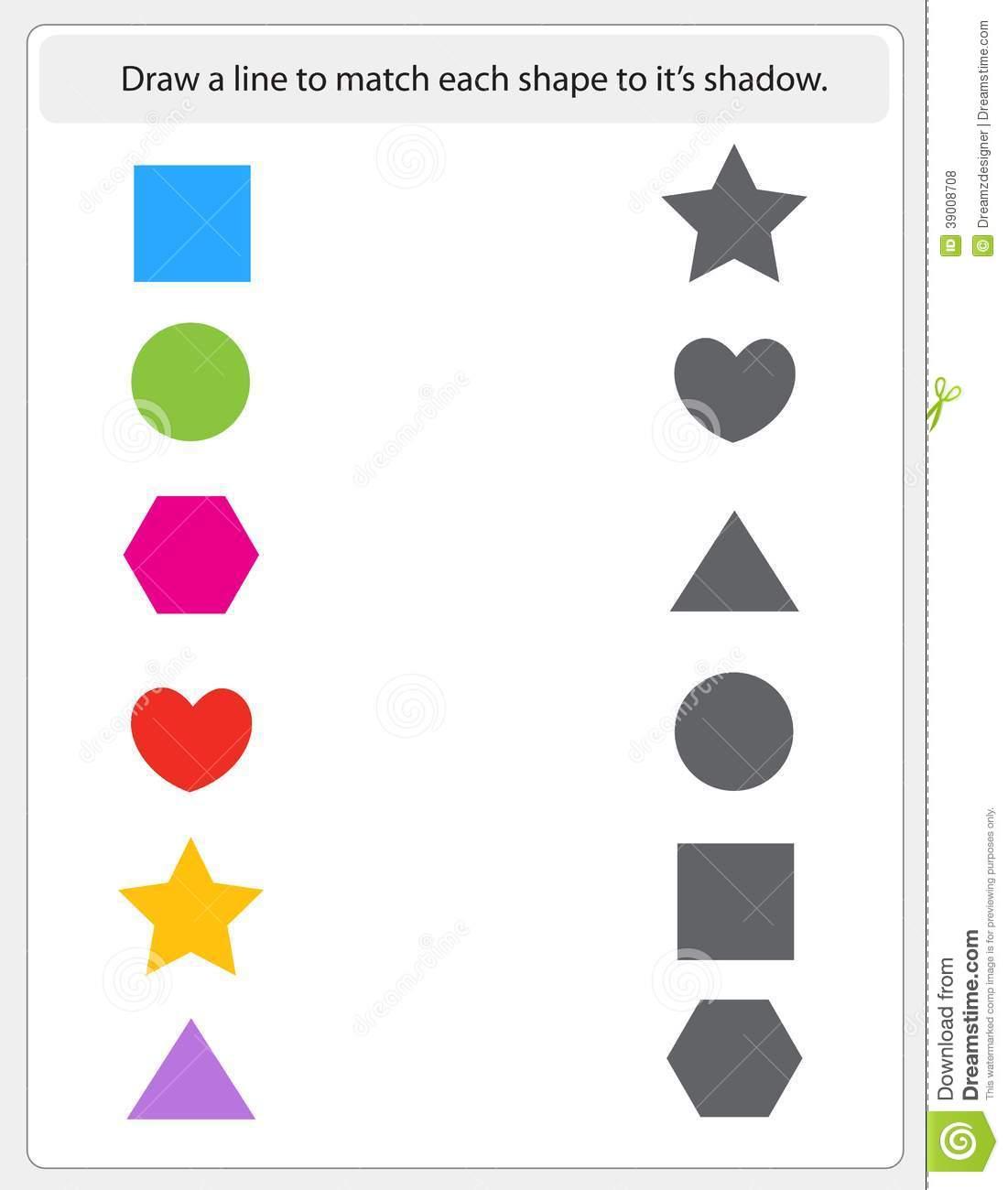 Kids Worksheet Matching Shapes And Shadows Stock Vector