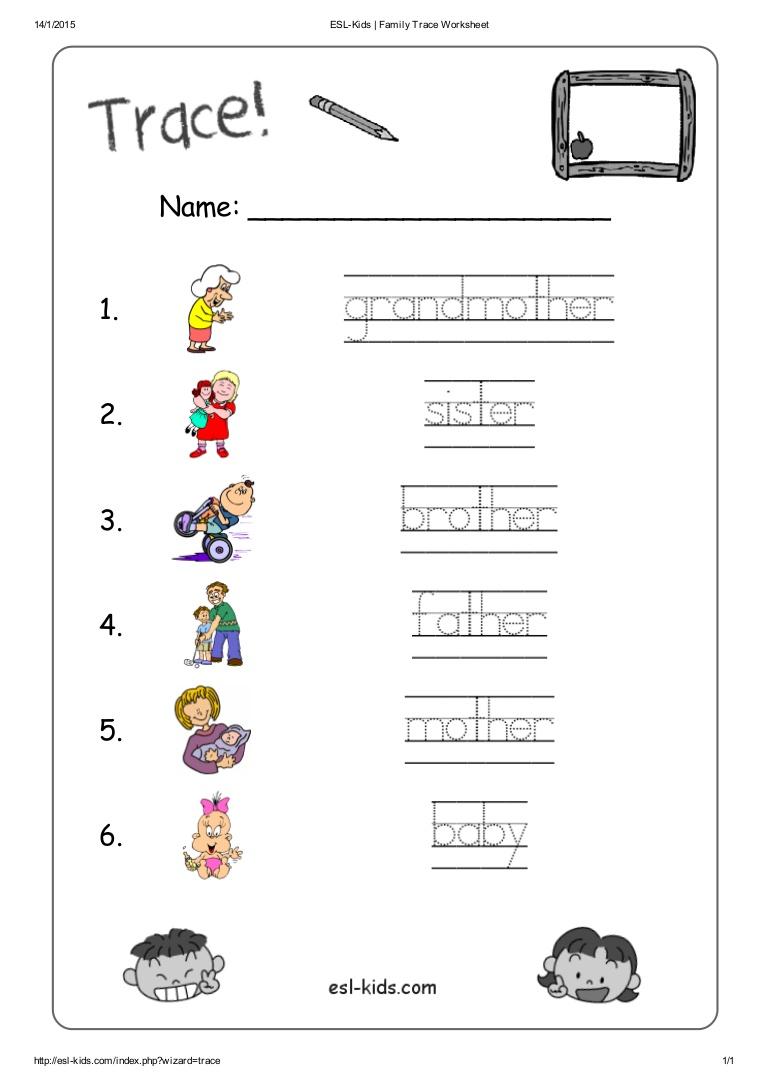 Kindergarten Esl Family Worksheet Free Worksheets Library