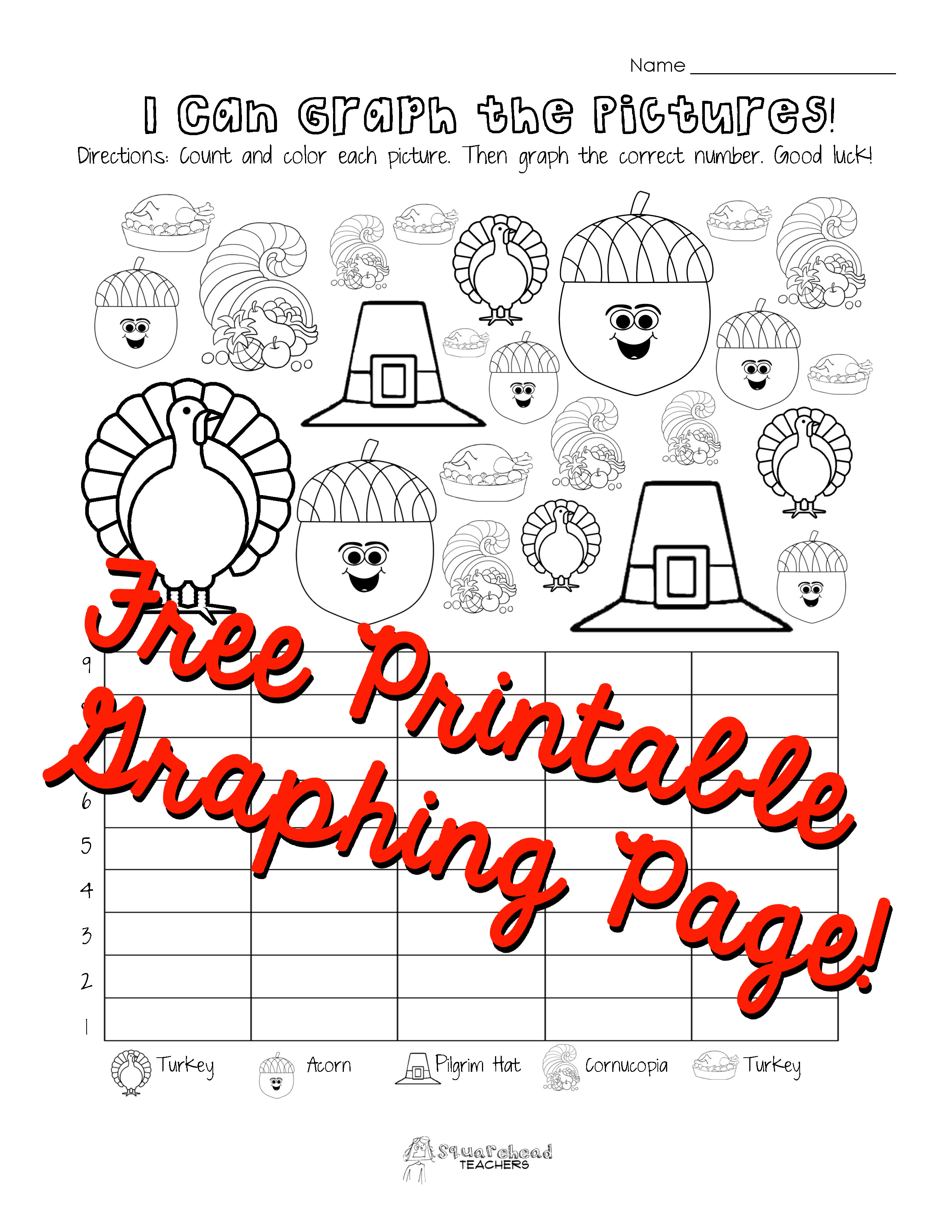 Kindergarten Graphing Worksheet Thanksgiving Page First Grade Math
