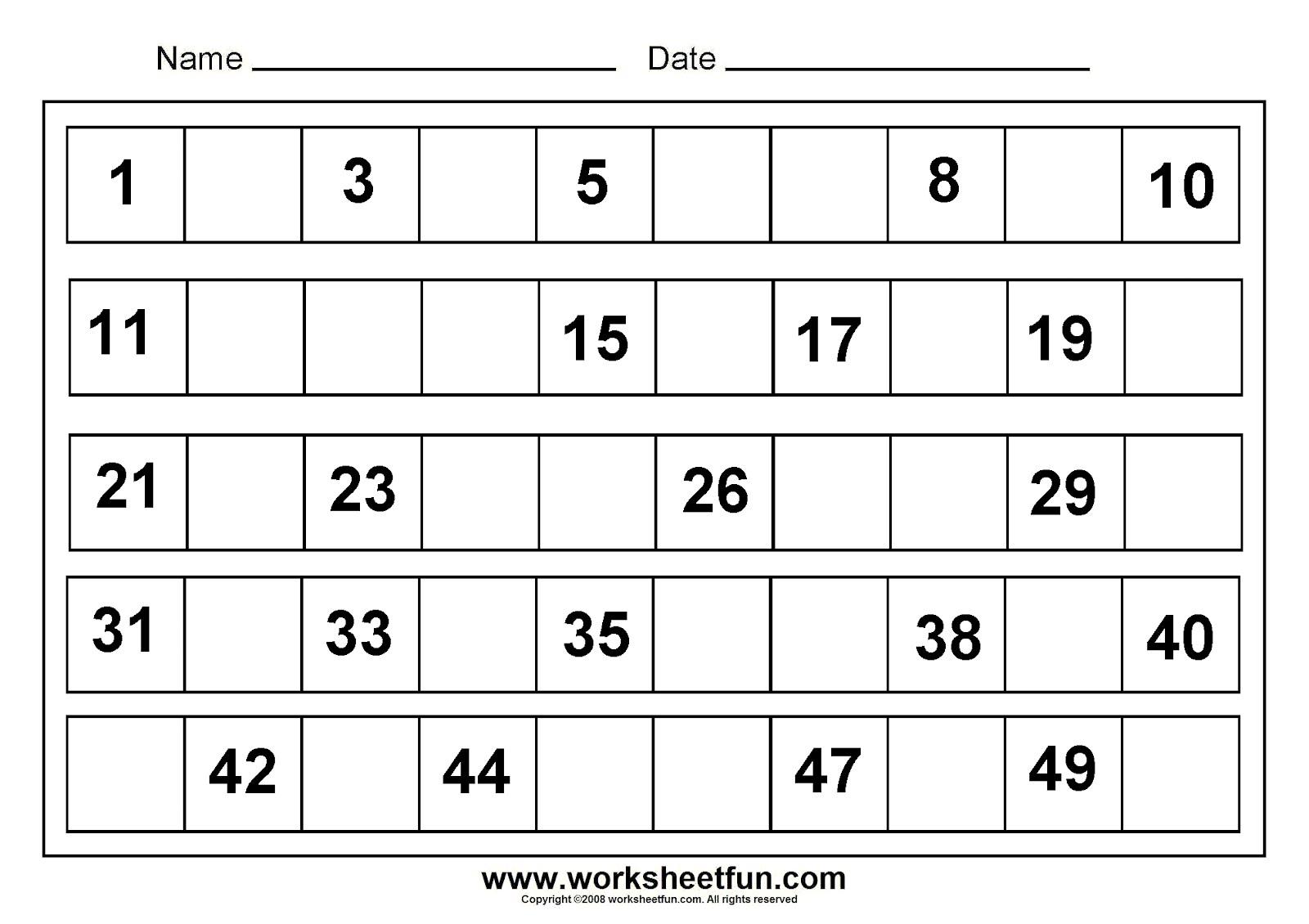 Kindergarten Math Worksheets Missing Numbers Worksheets For All