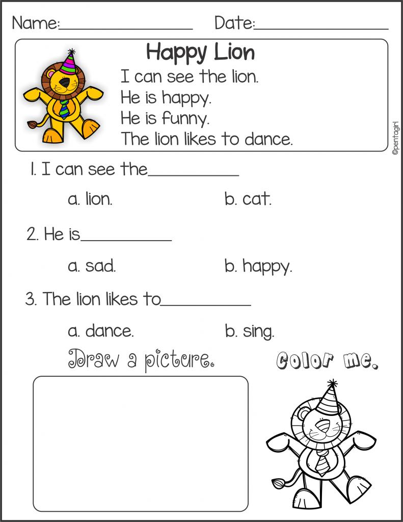 Kindergarten Reading Comprehension Set 1