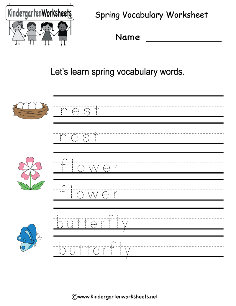 Kindergarten Spring Vocabulary Worksheet Printable