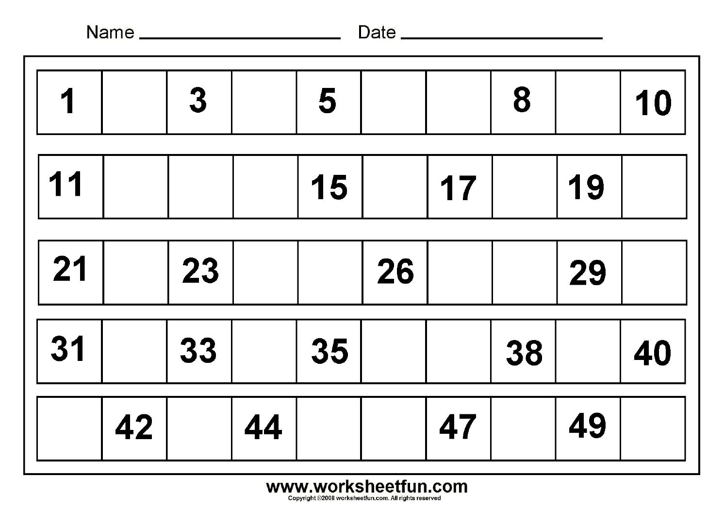 Kindergarten Worksheets For Numbers 1 50  Writing Numbers