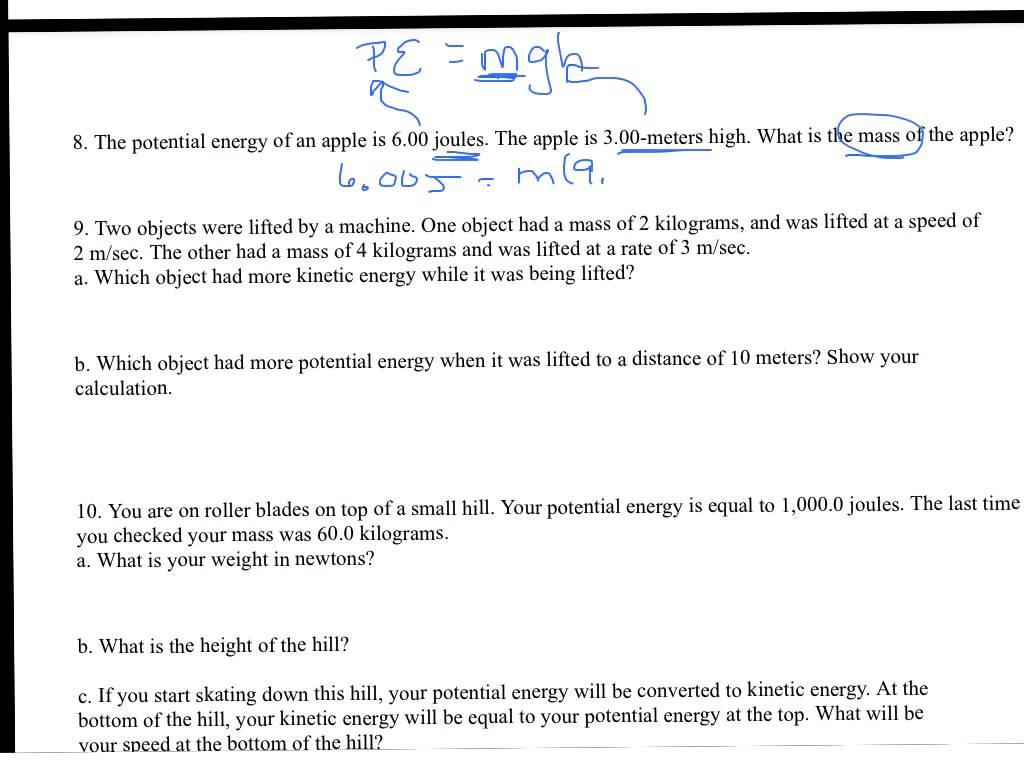 Potential Kinetic Energy Worksheets