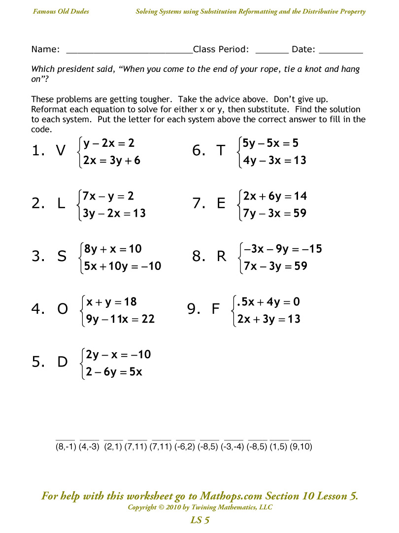 Ls 5  Solving Systems Using Substitution And The Distributive