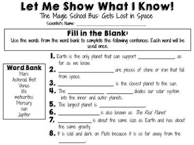 Magic School Bus Worksheets  Lesupercoin Printables Worksheets