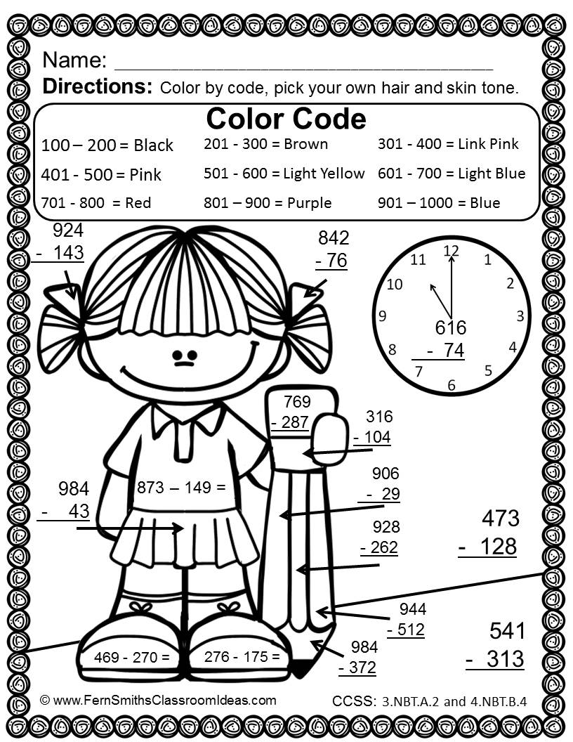 Math Worksheets Coloring 3rd Grade Go Color By Numbers Subtraction
