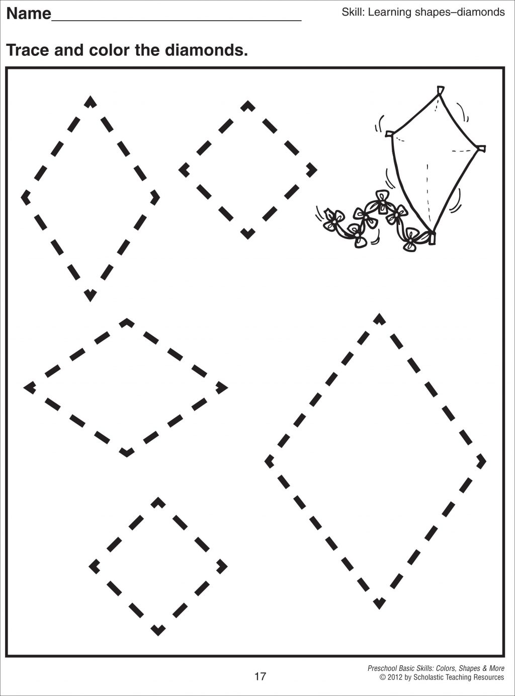 Math Worksheets Free Coloring Pages Of Tracing Diamond Shapes