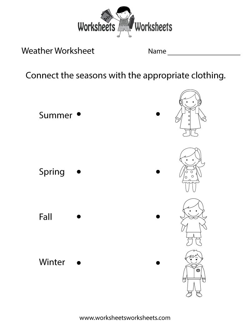 Mathsheets Weather For Kindergarten Funsheet Printable Study