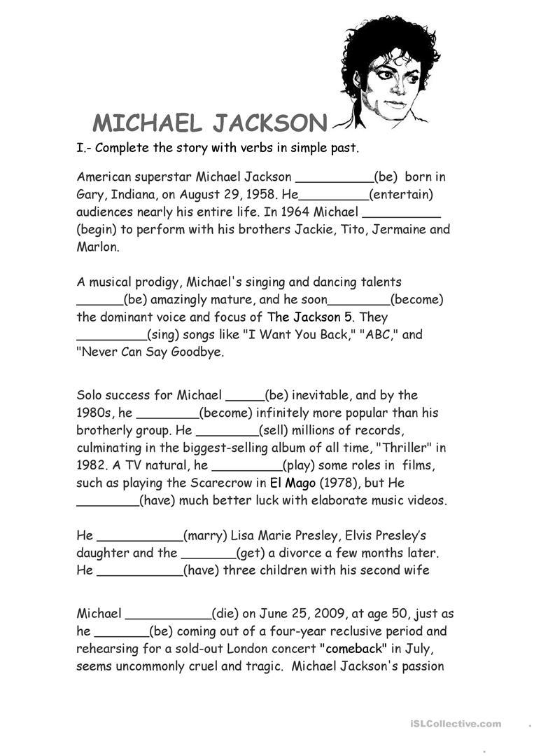 Michael Jackson Biography Worksheet