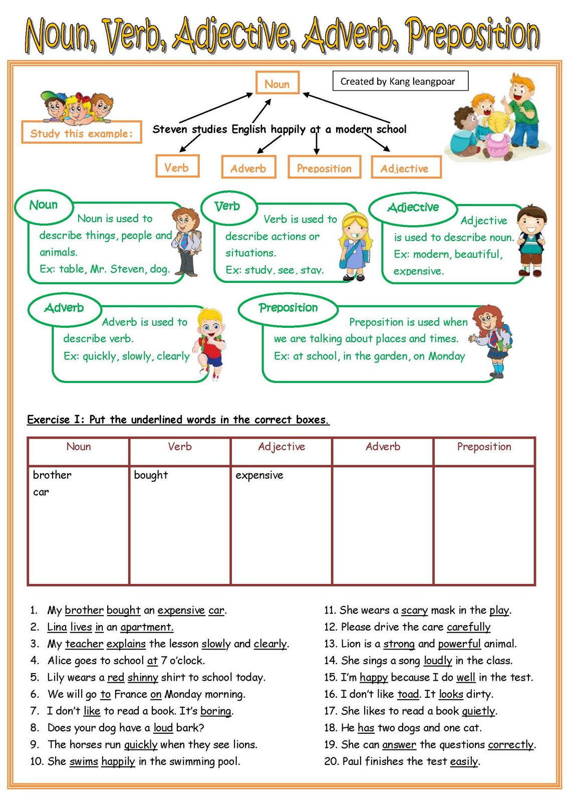 Nouns Adjectives Verbs Worksheet Worksheets For All