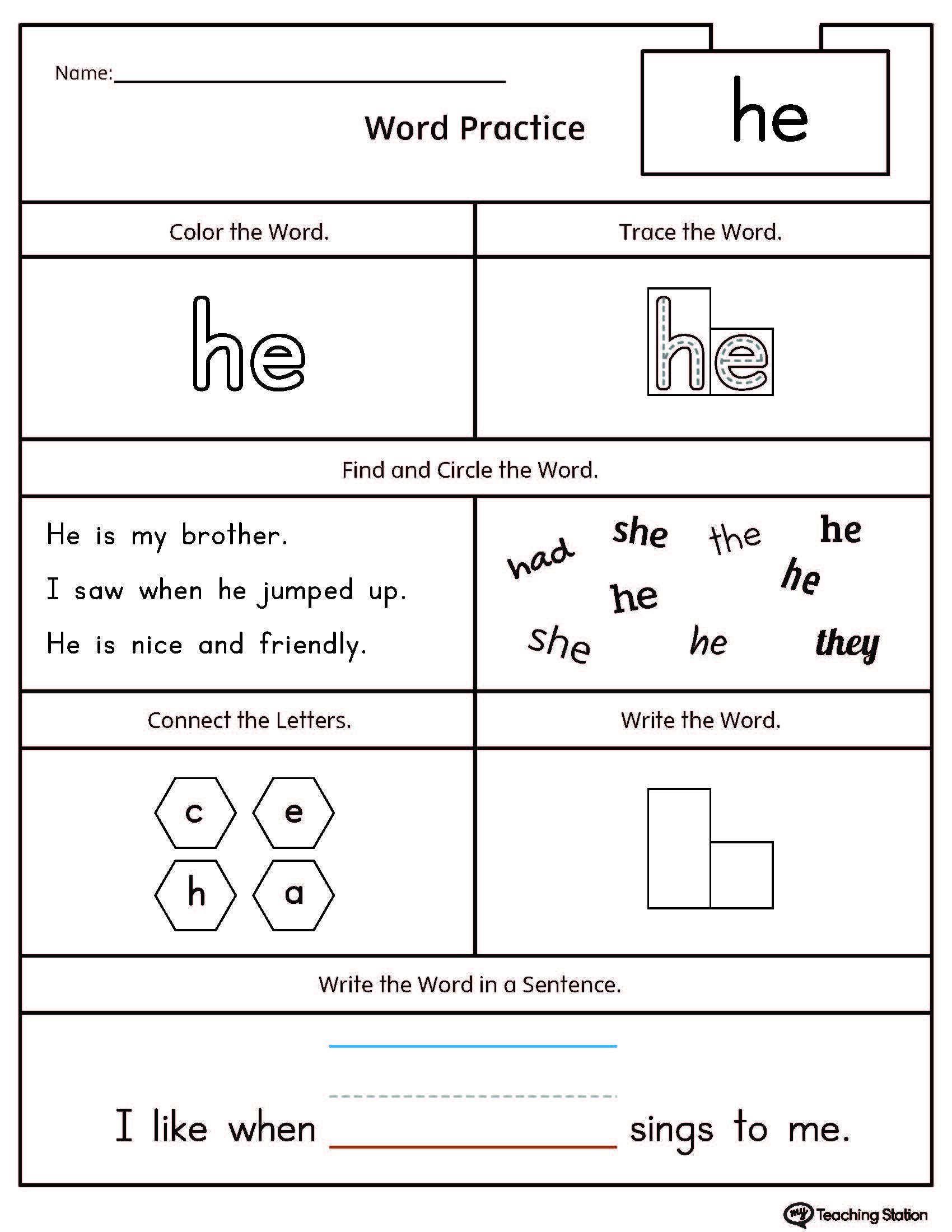 November No Prep Math And Literacy Kindergarten Sight Word Free