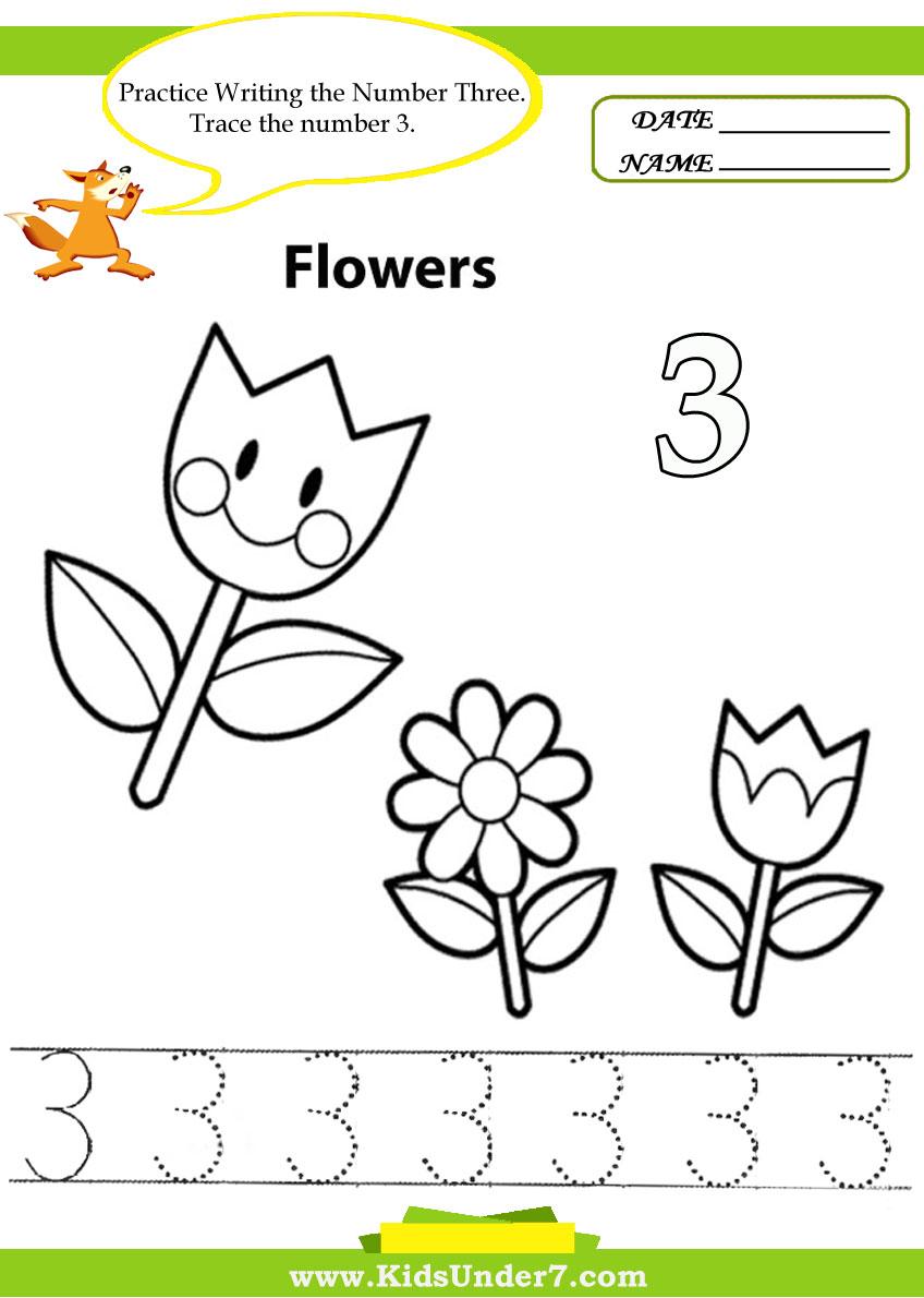 Number 3 Worksheet For Preschool Worksheets For All