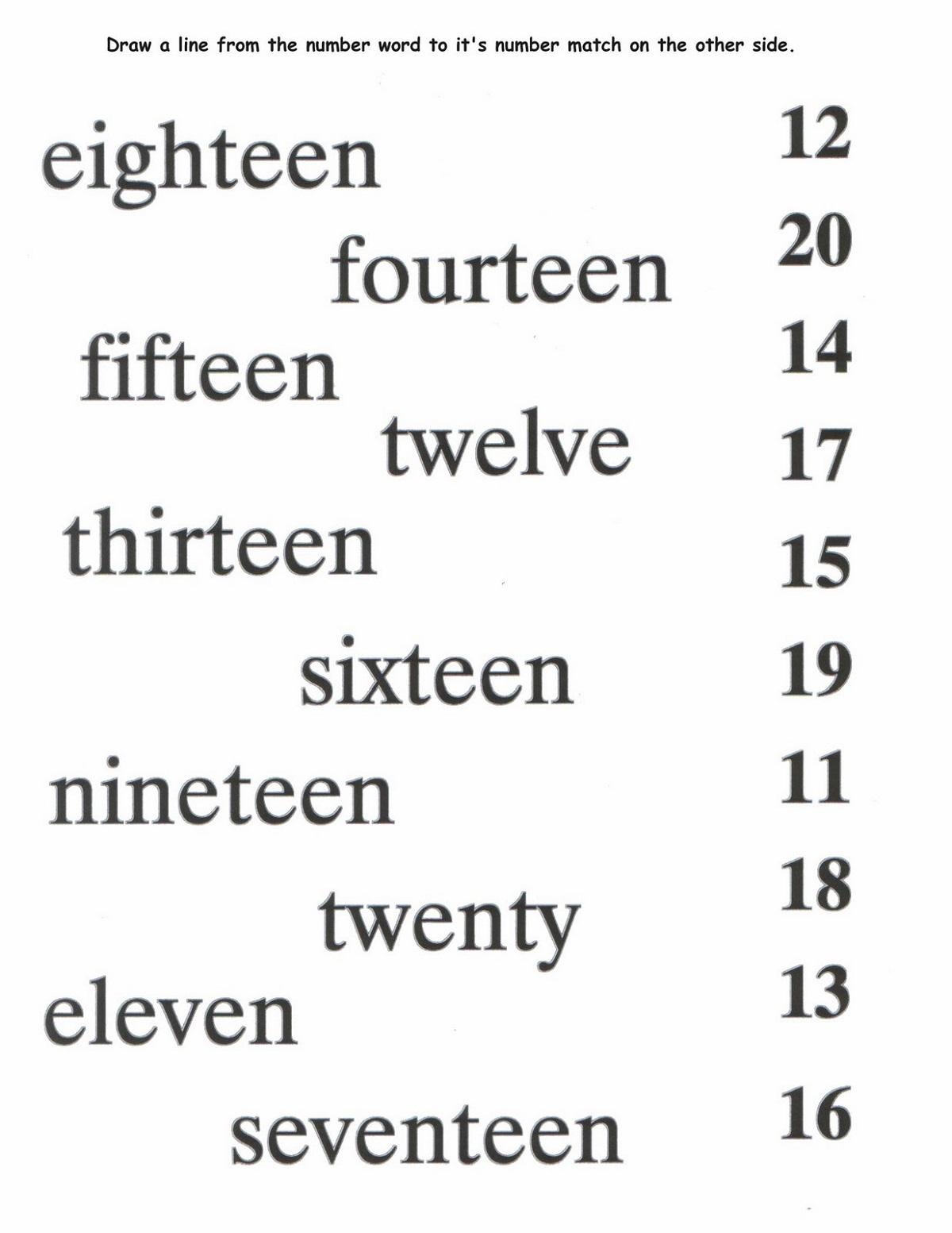 Number Names Worksheet For Kids