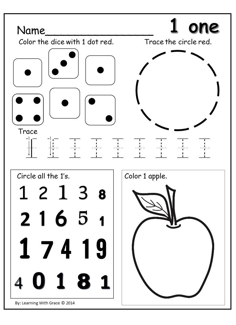 Number One Worksheet For Preschoolers Worksheets For All
