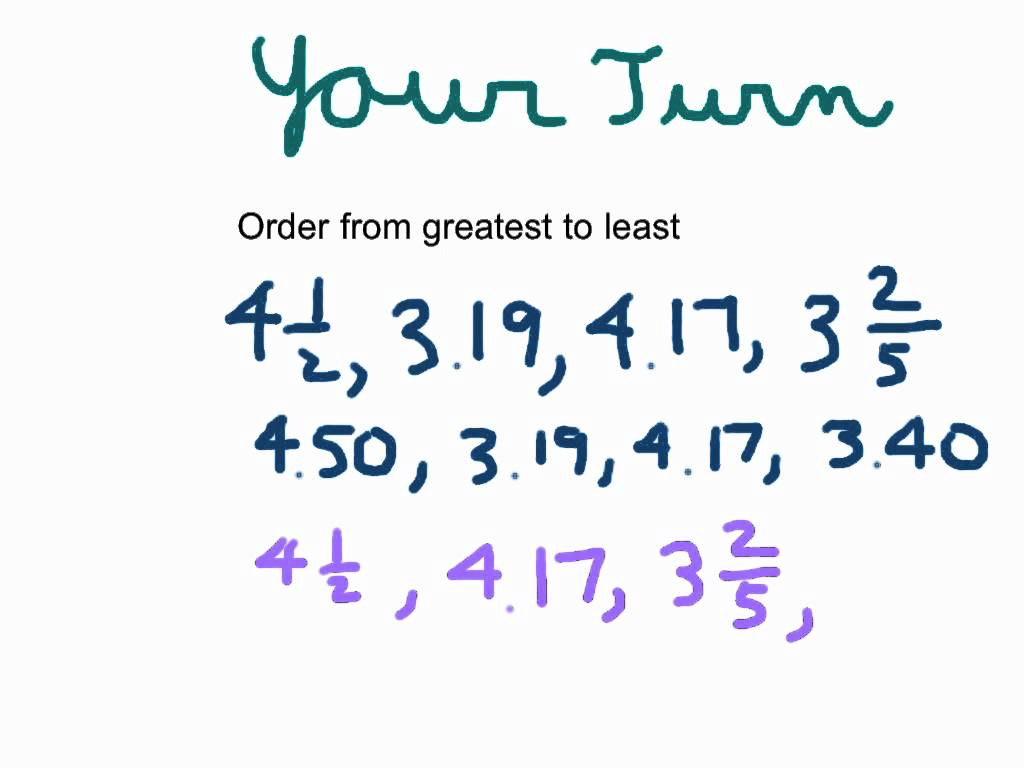 Ordering Decimals, Fractions, And Mixed Numbers