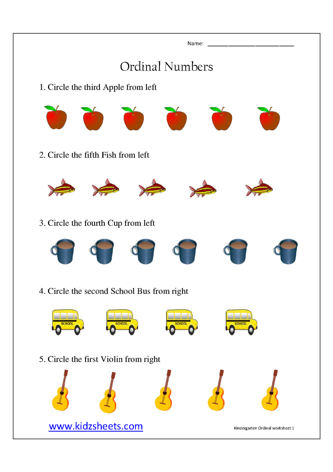 Ordinal Numbers Worksheets Kindergarten
