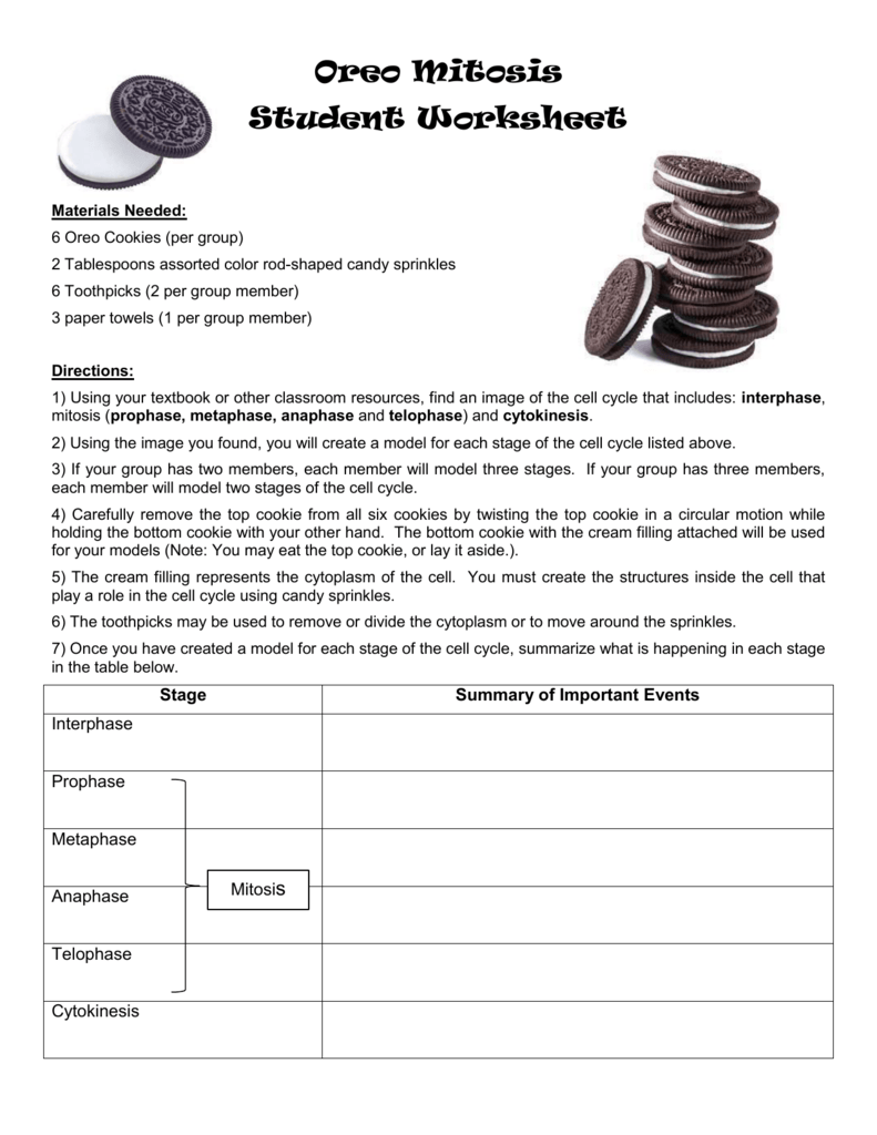 Oreo Mitosis Student Worksheet Materials Needed  6 Oreo Cookies
