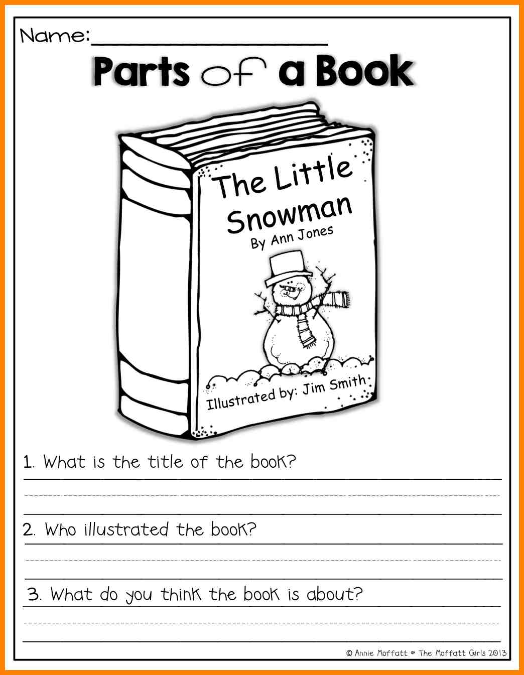 Parts Of A Book Worksheet Worksheets For All