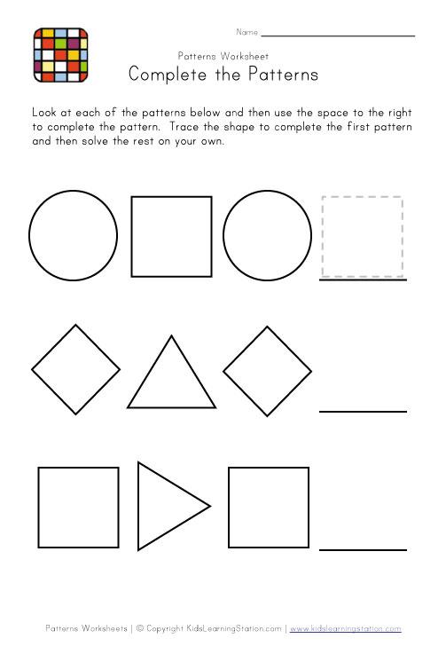 Patterns Worksheets For Preschoolers Free