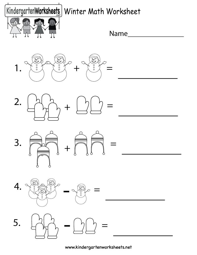 Pdf Worksheets For Kindergarten Free Printable Winter Math