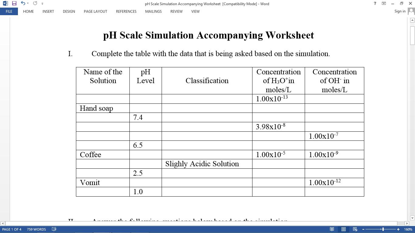 Worksheets Ph Worksheet Cheatslist Free Worksheets For Kids