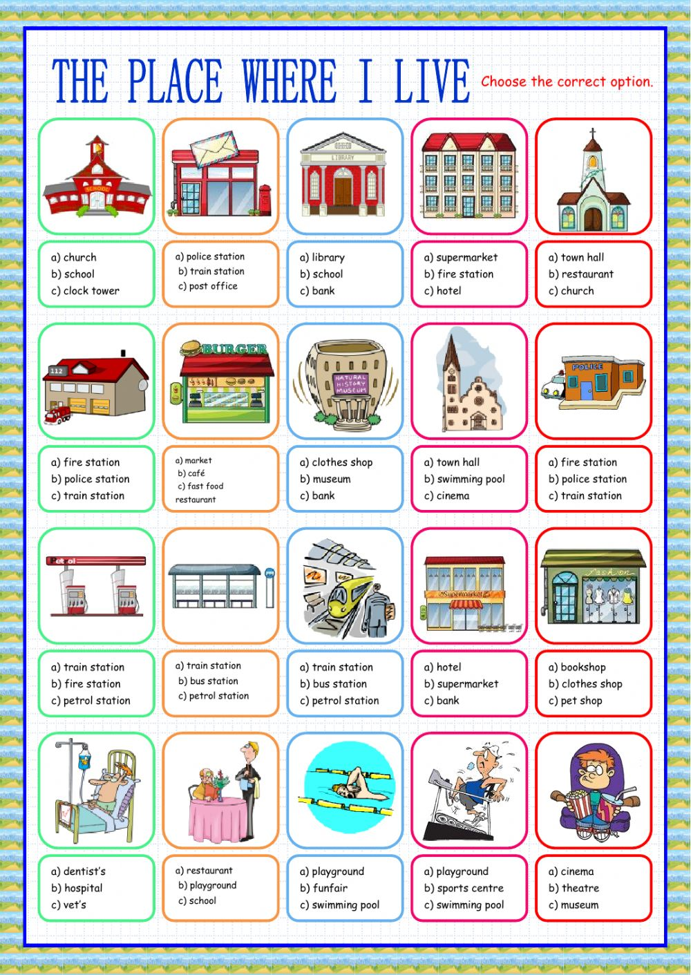 Places In The City Interactive Worksheets