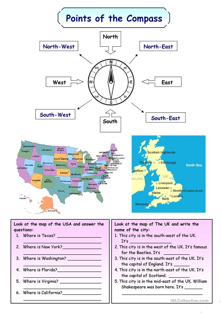 Points Of The Compass Worksheet