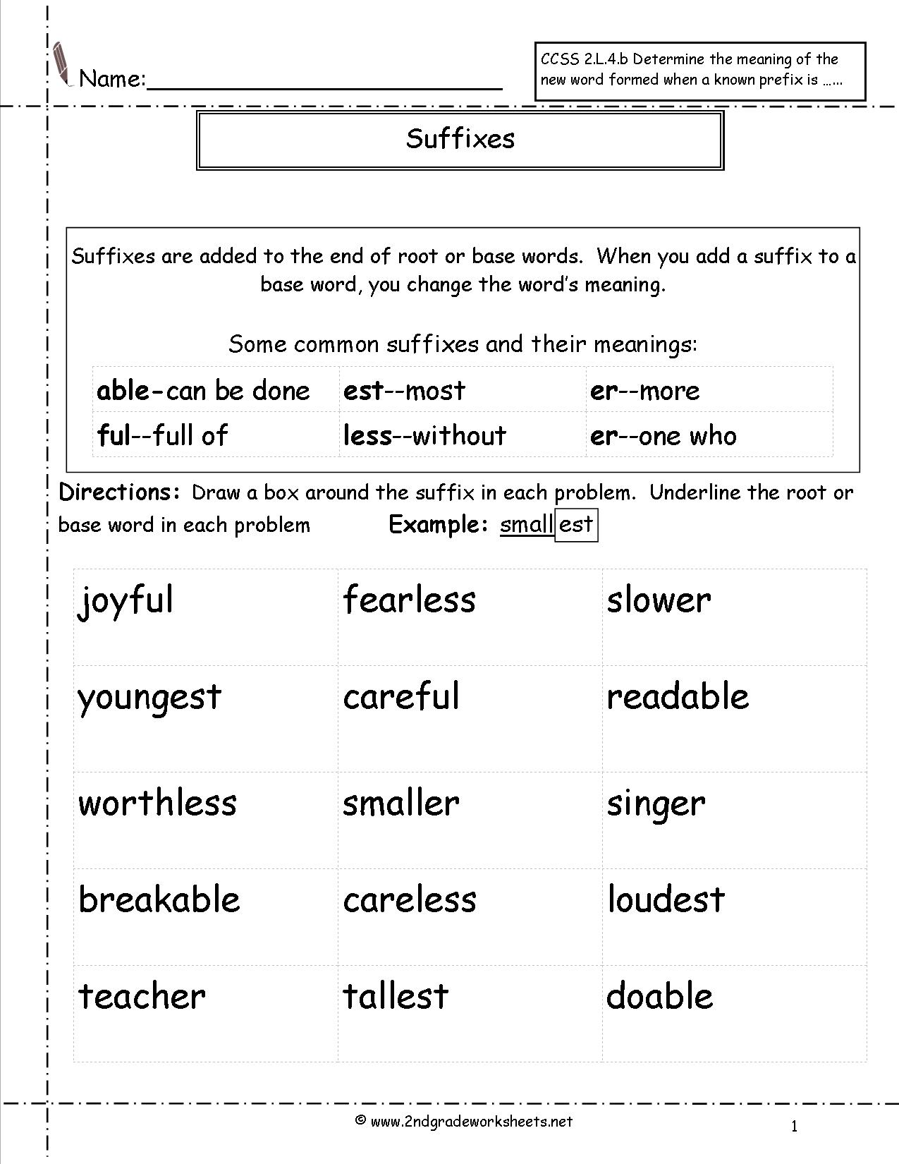 Prefixes And Suffixes Worksheets 2nd Grade The Best Worksheets
