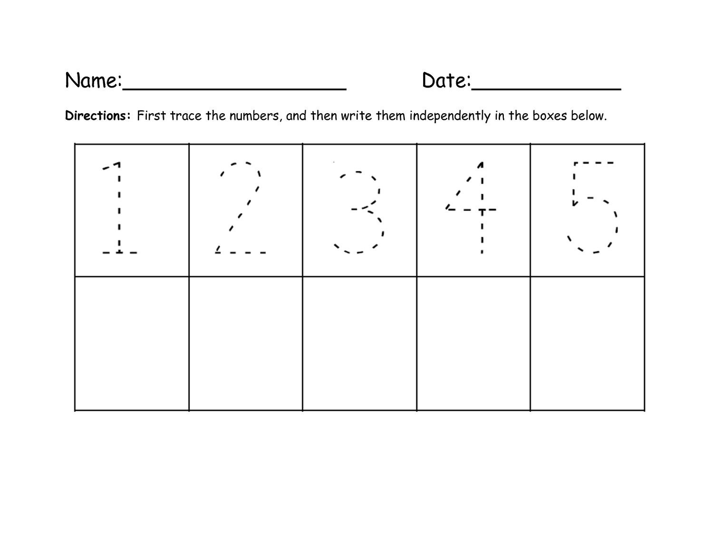 Preschool Writing Numbers 1 To 5 Simple