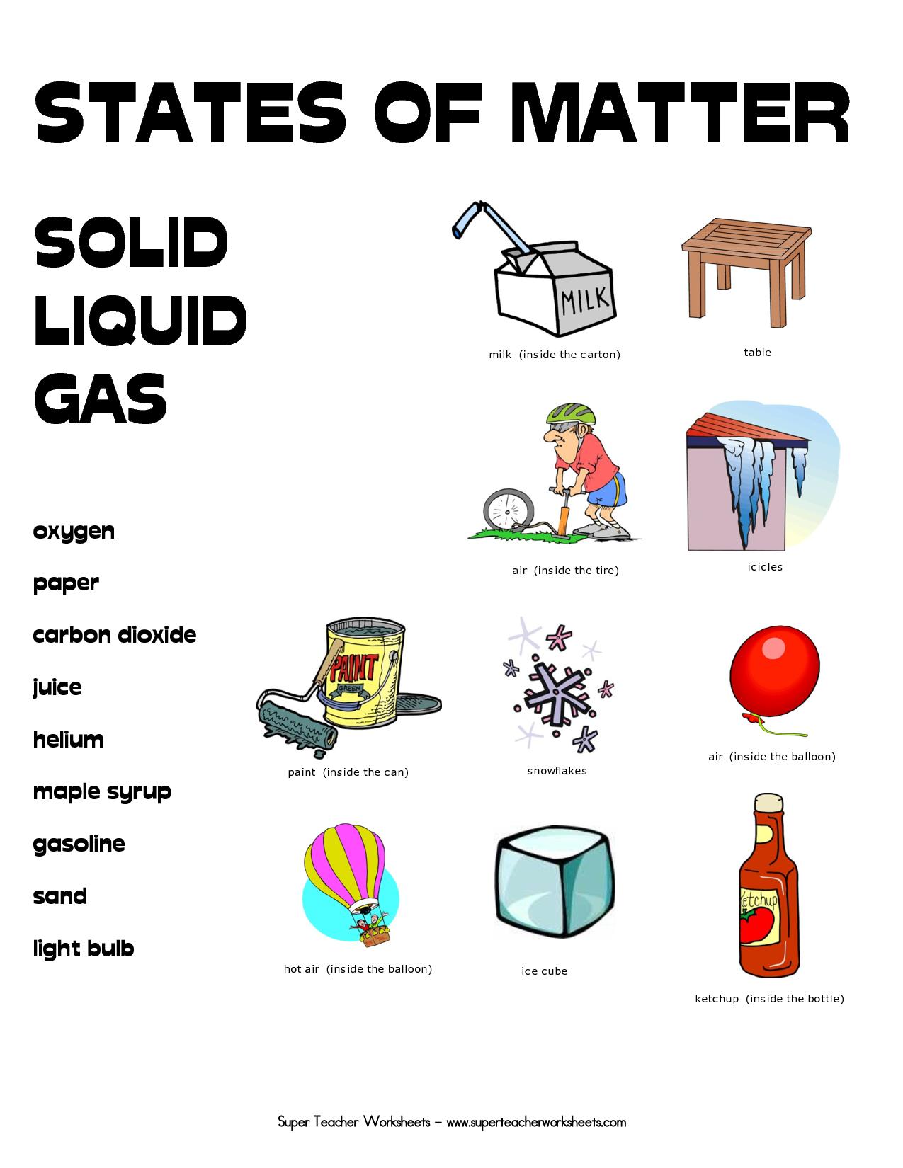Printable  Printable Matter Worksheets