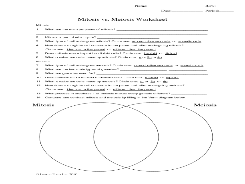 Printables  Comparing Mitosis And Meiosis Worksheet Answers