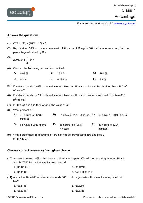 Printables  Math Grade 7 Worksheets  Messygracebook Thousands Of