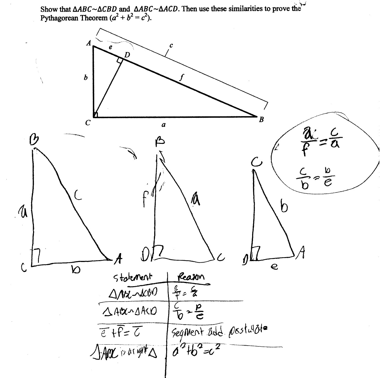 Pythagorean Theorem Proof Students Are Asked To Prove The