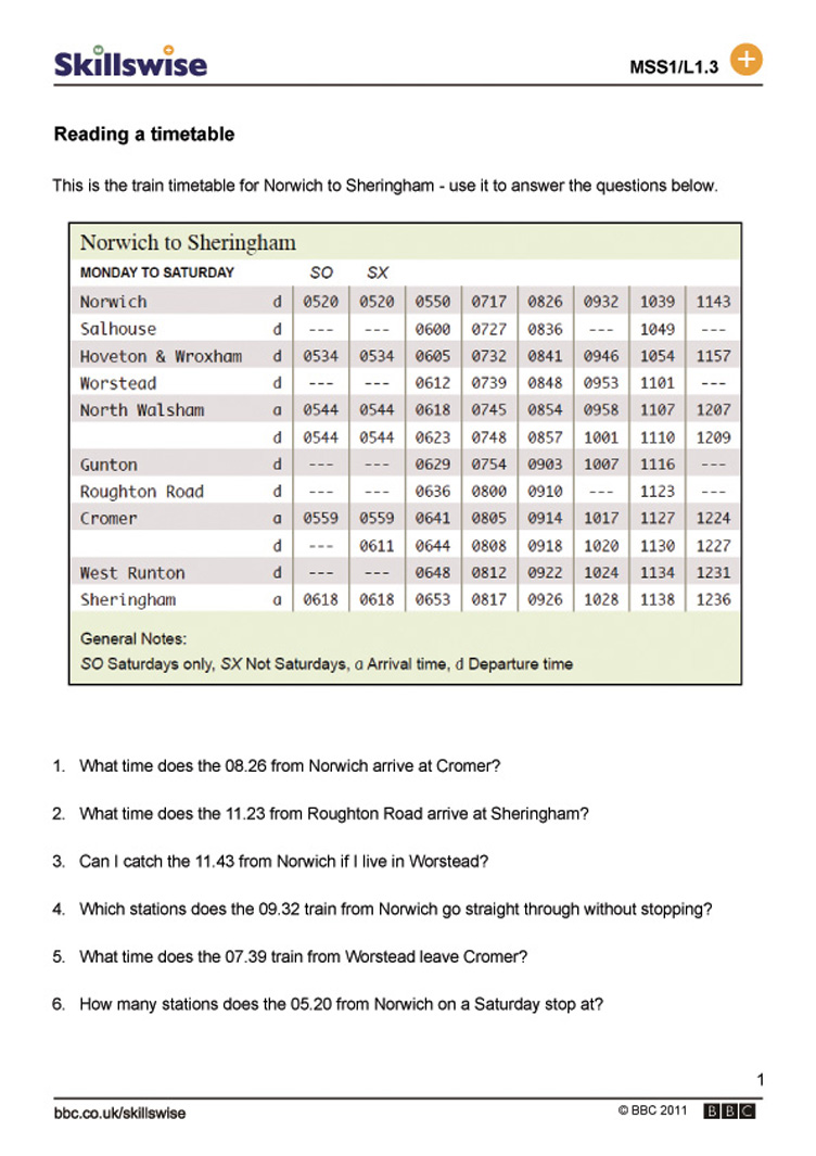 Reading A Bus Schedule Worksheet Free Worksheets For All