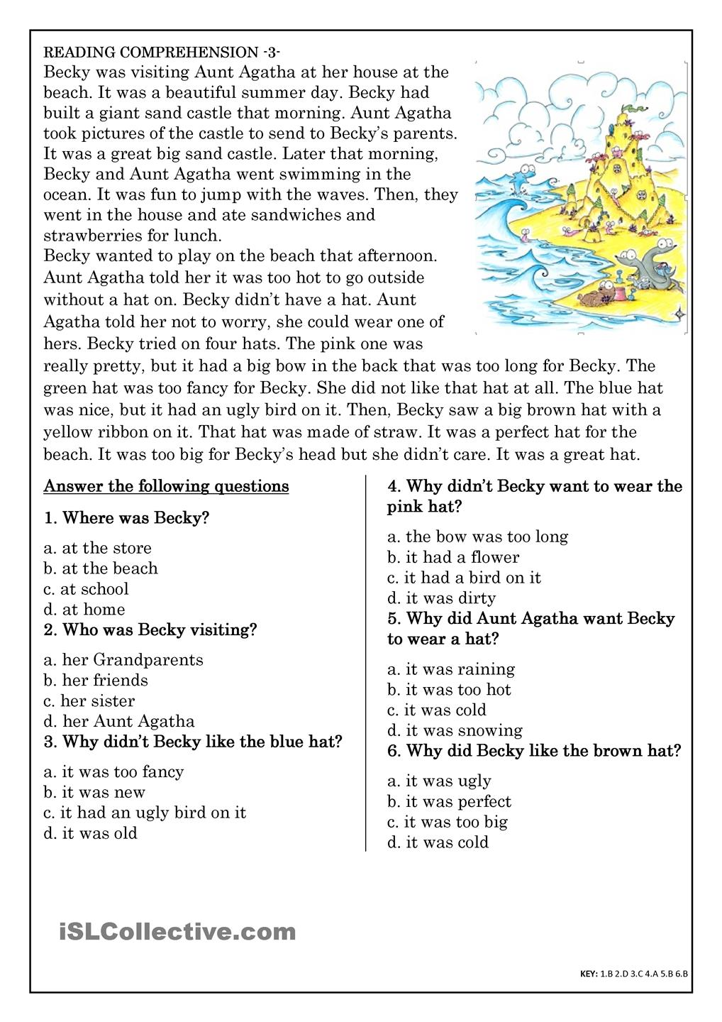 Reading Comprehension For Beginner And Elementary Students 3 Esl