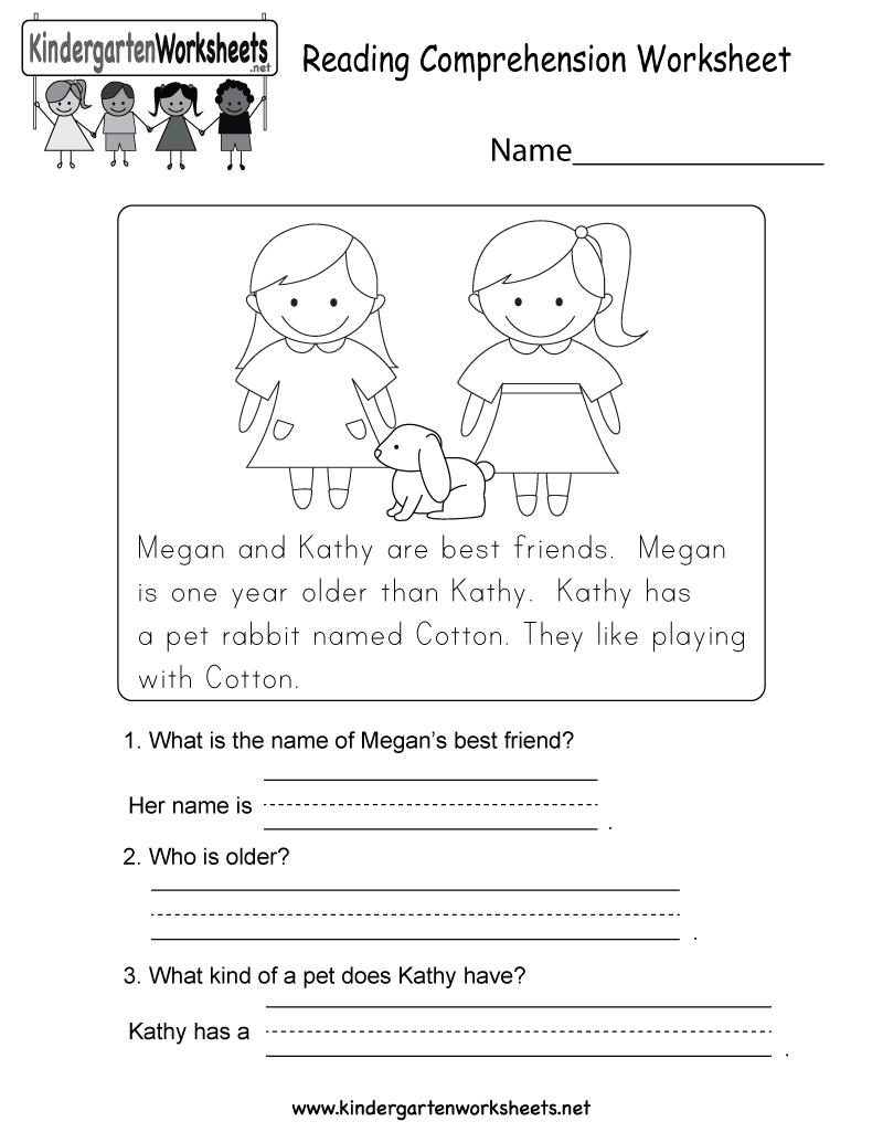 Reading Comprehension Worksheet Free Kindergarten English