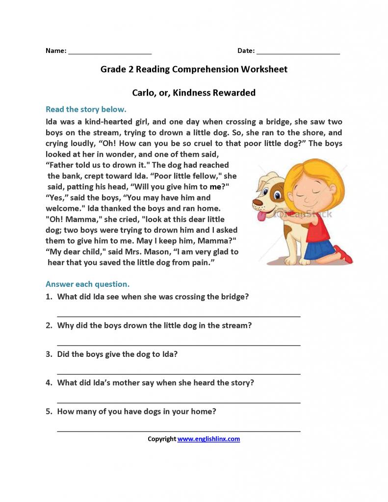 Reading Comprehension Worksheets For Grade 3 Pdf Worksheets For