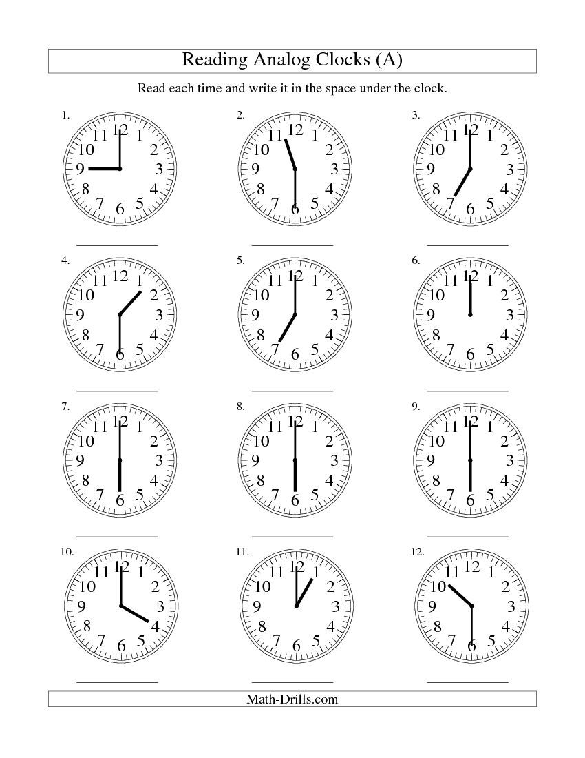 Reading Time On An Analog Clock In 30 Minute Intervals (all) Math