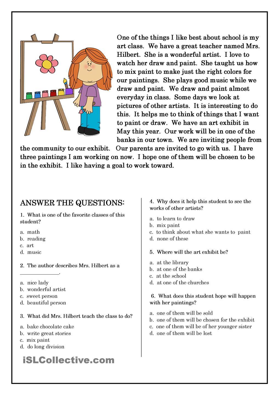 Reading Worksheets For Elementary Esl