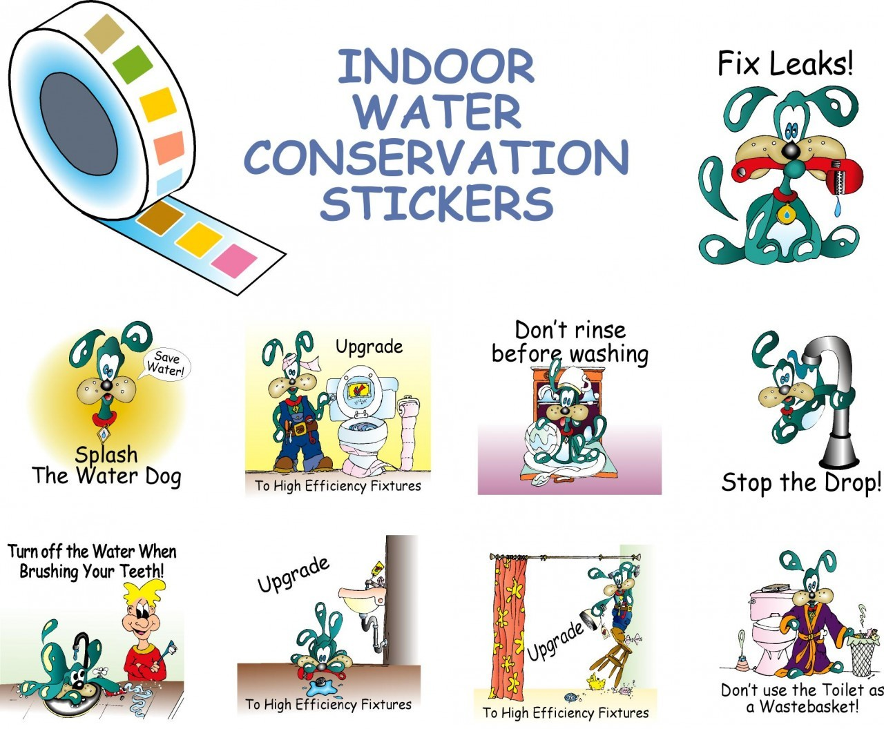 Roll Of Splash The Water Dog Indoor Water Conservation Stickers