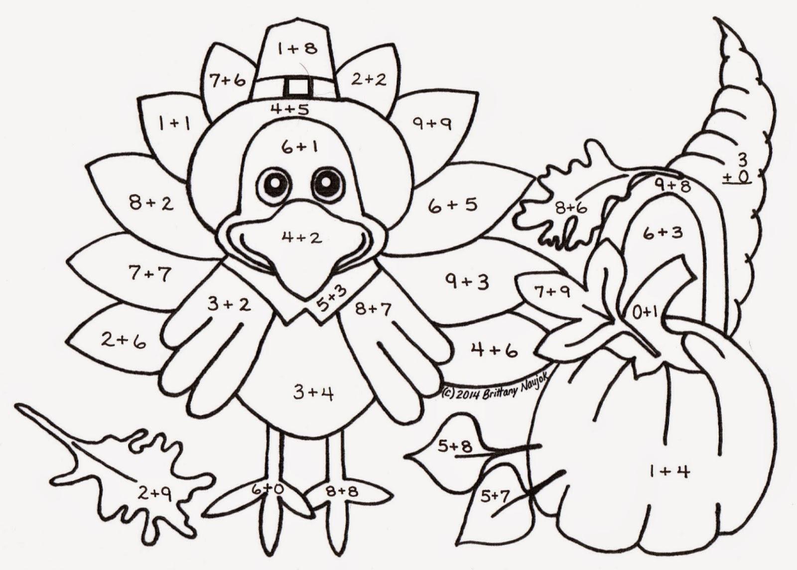Sampler Thanksgiving Multiplication Coloring Pages Kindergarten
