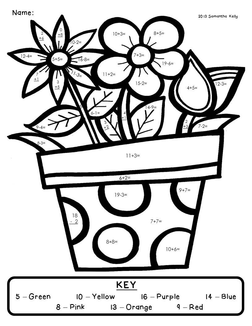Second Grade Math Coloring Worksheets Worksheets For All