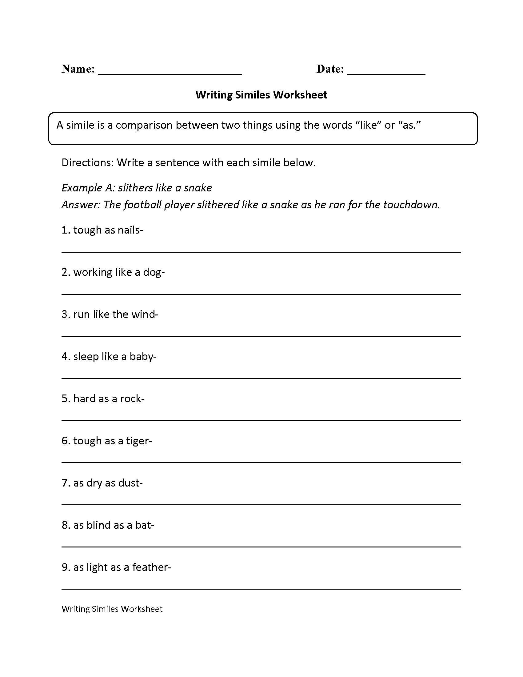 Similes Worksheet 4th Grade The Best Worksheets Image Collection